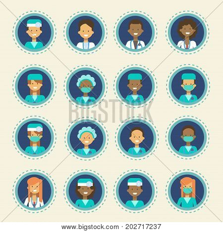 Medical Doctor Icons Set Clinics Hospital Medicine Worker Online Consultation Button Collection Flat Vector Illustration