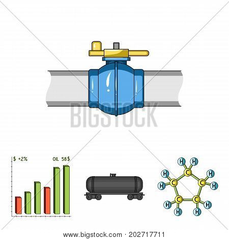 Railway tank, chemical formula, oil price chart, pipeline valve. Oil set collection icons in cartoon style vector symbol stock illustration .
