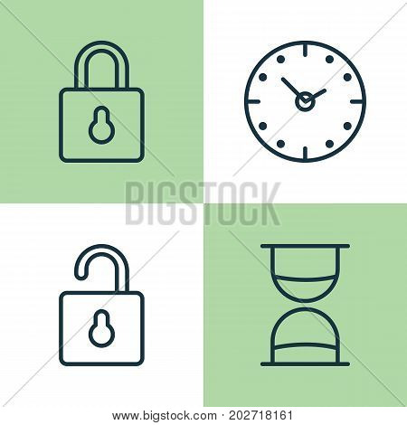 Internet Icons Set. Collection Of Safeguard, Hourglass, Time And Other Elements