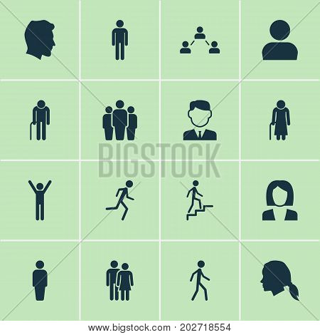 Human Icons Set. Collection Of Grandpa, Gentlewoman Head, Old Woman Elements