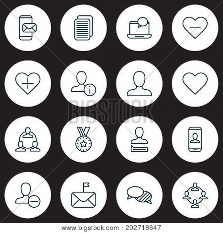 Social Icons Set. Collection Of Personal Data, Privacy Information, Significant And Other Elements
