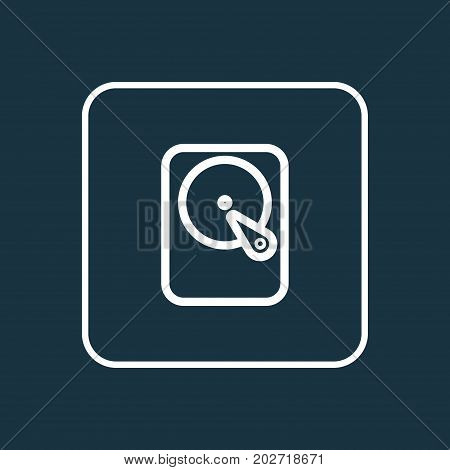 Premium Quality Isolated Hard Disk  Element In Trendy Style.  Winchester Outline Symbol.
