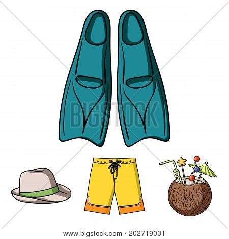 Swimming trunks, cocktail with coconut, panama and flippers. Surfing set collection icons in cartoon style vector symbol stock illustration .