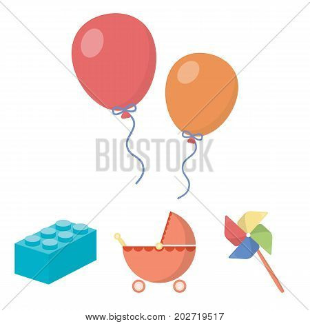 Stroller, windmill, lego, balloons.Toys set collection icons in cartoon style vector symbol stock illustration .