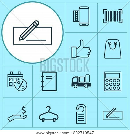 Ecommerce Icons Set. Collection Of Recommended, Tote Bag, Spiral Notebook And Other Elements