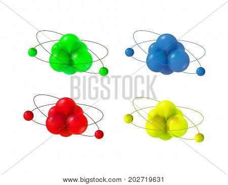 Abstract molecules. Atoms. 3d vector protons neutrons and electrons. Science concept.