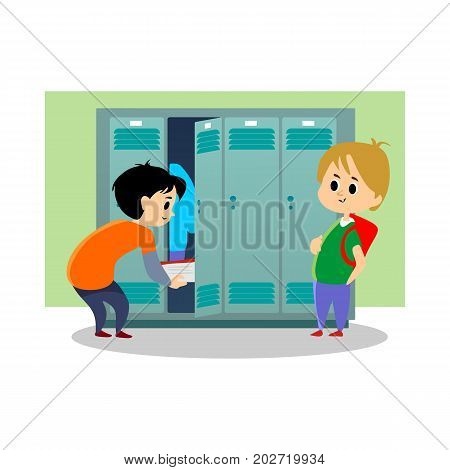 Children boys near lockers in the locker room of the school dress up and put their personal belongings and books for study in open doors, school hallway and campus life vector illustration.