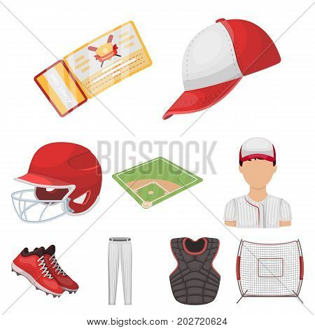 Ball, helmet, bat, uniform and other baseball attributes. Baseball set collection icons in cartoon style vector symbol stock illustration .