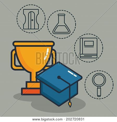 trophy and gradation cap with school elements related icons over gray background colorful design  vector illustration
