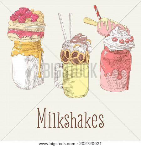 Milkshake and Ice Cream Hand Drawn Doodle. Dessert Drinks with Fruits. Vector illustration
