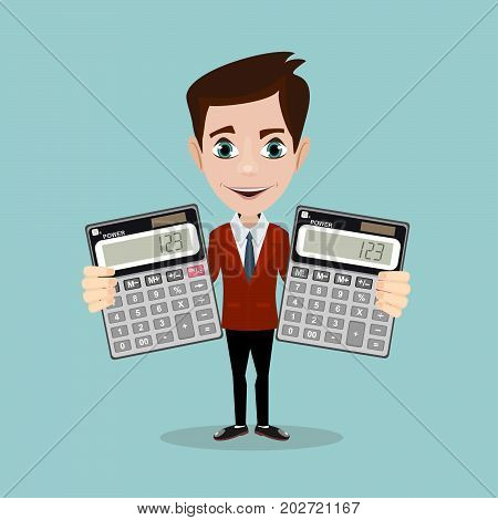Man with a calculator. Calculation concept, icon. Businessman, accountant. Flat design, Vector Illustration. Isolated on background. Element for editing digital values.