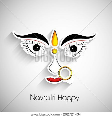 illustration of Hindu Goddess Durga face with Navratri Happy text on the occasion of hindu festival Navratri