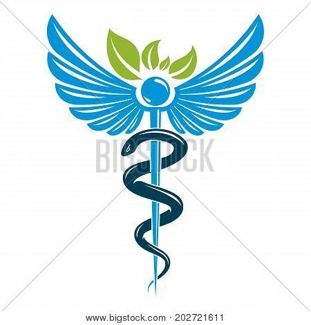 Caduceus symbol composed with poisonous snakes and bird wings healthcare conceptual vector illustration. Alternative medicine theme.