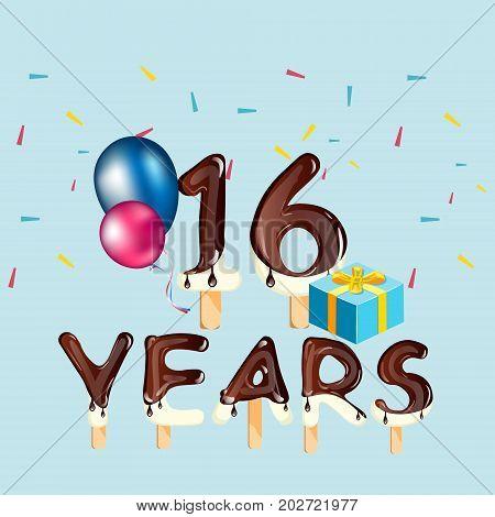 16 Years Birthday Celebration greeting card. Vector illustration