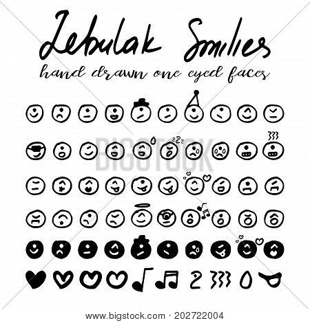 One-eyed smiley faces collection of aliens in hand drawn technique and grunge style isolated on white. Vector illustration