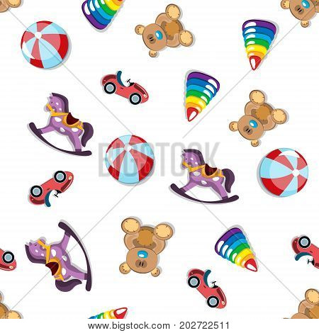 Seamless different toys pattern. Toys Vector illustration