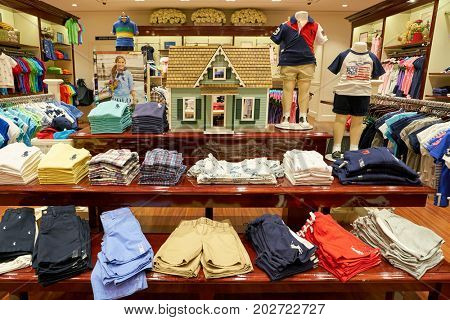 BUSAN, SOUTH KOREA - MAY 25, 2017: goods on display at a Polo Ralph Lauren store at Lotte Mall in Busan.