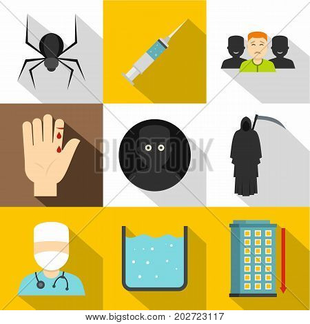 Fears and phobias icon set. Flat style set of 9 fears and phobias vector icons for web design