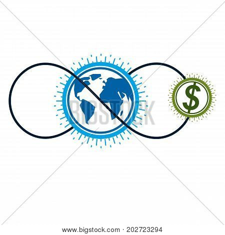 Global Business creative logo unique vector symbol created with different elements. Global Financial System. World Economy.