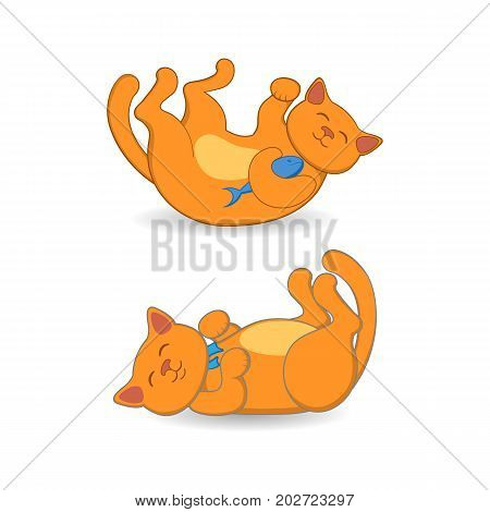 Cute red cat, kitten lying on its back in two positions, cartoon vector illustration isolated on white background. Playful cartoon, comic style red cat, kitten lying on its back, two positions