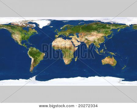 Real looking Earth map.  Map is accurate and right, like in reality.