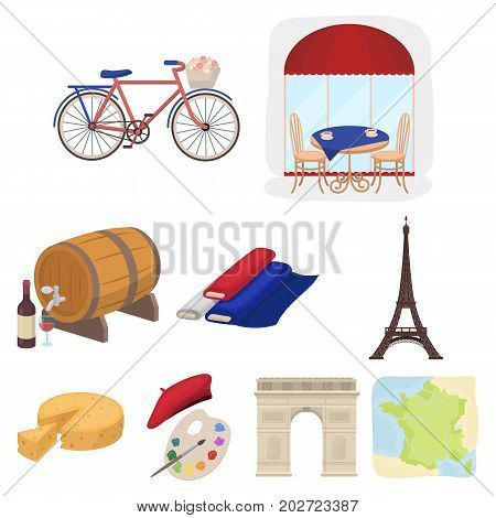 Attractions in France. Things to learn about France. France country icon in set collection on cartoon style vector symbol stock web illustration.