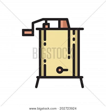 Radial, centrifugal hand powered honey extractor, colorful thin line flat style icon, vector illustration isolated on white background. Flat style thin line icon of radial honey extractor device