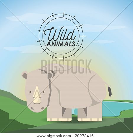 rhino icon over landscape background colorful design vector illustration
