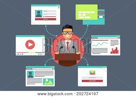 Web Life of Businessman from video blog social networks online shopping and email. Graphic user interface and web pages forms and elements. Vector