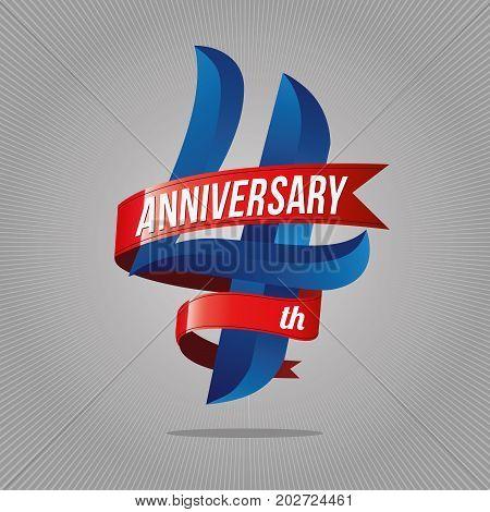 4 Years Anniversary Celebration Logotype. 4Th  Logo, Gray Background