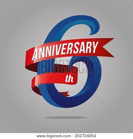 6 Years Anniversary Celebration Logotype. 6Th Logo, Gray Background