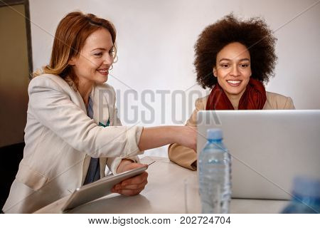 Female manager with employee make consultation about business on laptop