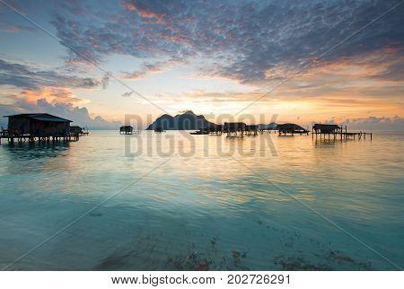 Beautiful Sunrise In Tun Sakaran Marine Park, Semporna, Sabah Borneo, Malaysia.