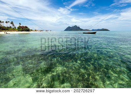 Beautiful Clear Water Near Maiga Island Located In Semporna In The Vicinity Of Sipidan Island And Tu