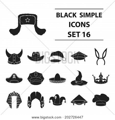 Hats set icons in black style. Big collection hats vector symbol stock