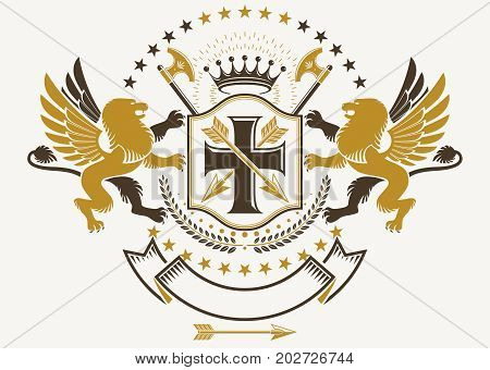 Heraldic Coat of Arms vintage vector emblem created with mythic gryphon religious cross imperial crown and hatchets