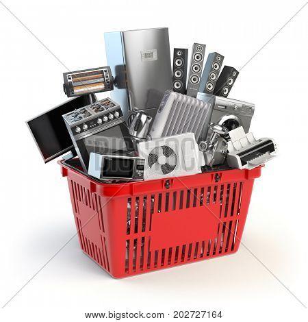 Kitchen appliances in the shopping basket. Online e-commerce concept. 3d illustration