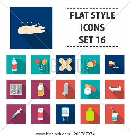 Medicine and hospital set icons in flat style. Big collection medicine and hospital vector symbol stock