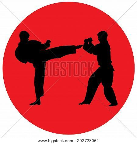 Silhouette karate athletes conducting a training match on red circle -vector