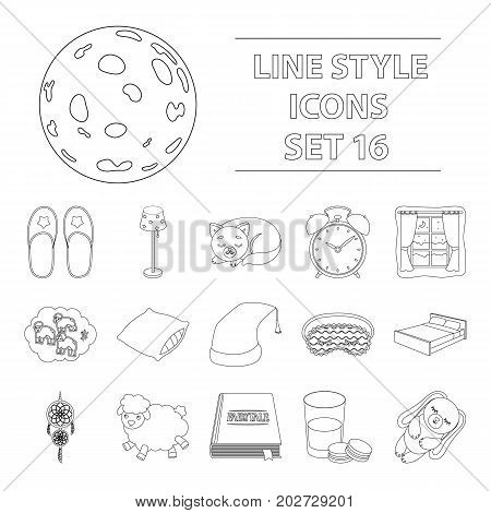 Sleep and rest set icons in outline design. Big collection of sleep and rest vector symbol stock illustration