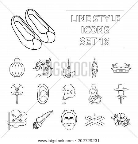 South Korea set icons in outline style. Big collection of South Korea vector symbol.
