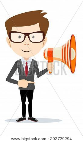 Young businessman with a megaphone. Stock flat vector illustration.