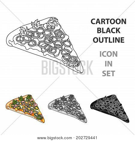 A slice of pizza with different ingredients. Different pizza single icon in cartoon style vector symbol stock illustration .