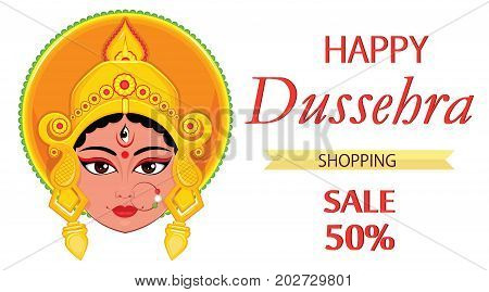 Happy Dussehra greeting card. Maa Durga Face for Hindu Festival. Vector illustration on white background for sale shopping