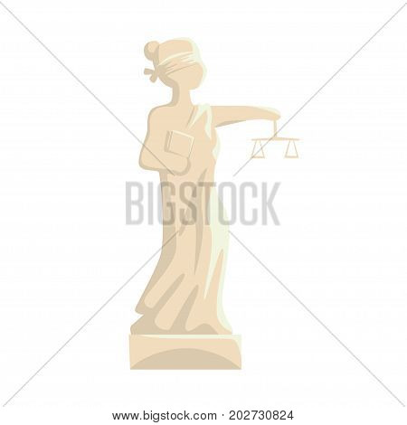 Themis Femida statue, Lady of Justice cartoon vector Illustration on a white background