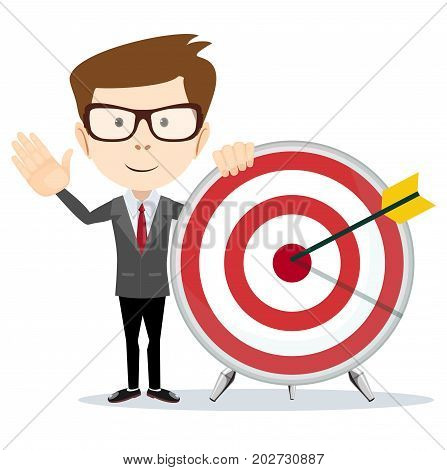 Aim in business. Vector illustration flat design. Smart solution to achieve mission. Direction victory. Aiming to target.