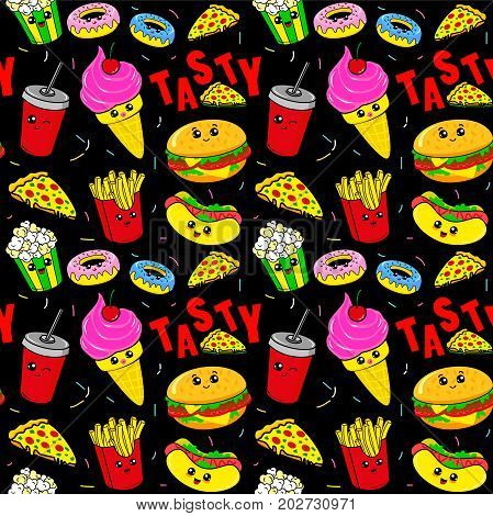Cute kids pattern for girls and boys. Colorful fast food on the abstract grunge background create a fun cartoon drawing. Childish pattern. Kids pattern. Food pattern. Fast food Pattern. Burger pattern. Baby pattern. Ice cream pattern. Tasty pattern.