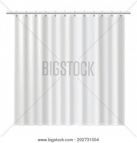 Blank shower curtains mock up to show your design. Clean interior design elements for bathroom isolated on a white background. Hygiene facility concept. Detailed vector illustration.
