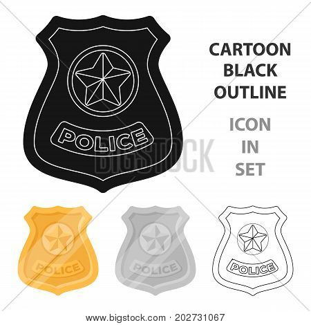 Police badge icon in cartoon design isolated on white background. Police symbol stock vector illustration.