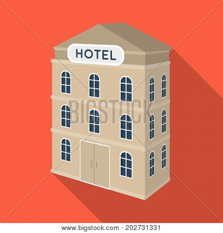 Three-storey hotel. Architectural building of the hotel single icon in flat style vector symbol stock illustration .